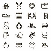 Slimming Signs Black Thin Line Icon Set Include Of Fitness, Diet, Female Body, Scale, Food, Apple An poster