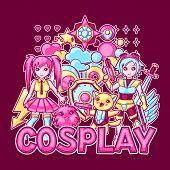 Japanese Anime Cosplay Print. Cute Kawaii Characters And Items. poster