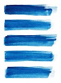 Blue Abstract Painted Ink Strokes Set On Watercolor Paper. Ink Strokes. Flat Kind Brush Stroke. Wate poster
