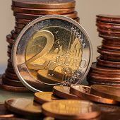 Coin Of Two Euros. Coin On A Blurred Background Coin Denomination Of Two Euros. Currency Of The Euro poster