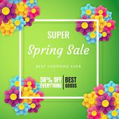 Spring Sale Banner Template With Flower On Colorful Background. Vector Illustration. Card For Spring poster