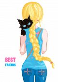 Blonde Girl With A Black Cat. Best Friends poster