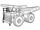 stock photo of jcb  - Perspective illustration of a dumper truck in black and white - JPG
