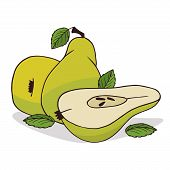 Isolate Ripe Pear Fruit On White Background. Close Up Clipart With Shadow In Flat Realistic Cartoon  poster