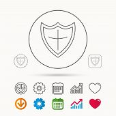 Shield Icon. Protection Sign. Royal Defence Symbol. Calendar, Graph Chart And Cogwheel Signs. Downlo poster