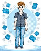 Young Teen Boy Cute Nice Standing Wearing Fashionable Casual Clothes. Vector Attractive Kid Illustra poster