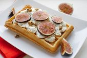 Vienna Wafer Dessert With Ricotta And Fresh Figs On White Plate Background, Healthy Dessert Concept poster