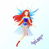 An Angel, A Girl With Red Hair, A Halo And A Blue Wings, Angels Among Us poster