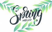 Spring. Banner With Trendy Spring Leaves. Trendy Script Lettering Design Hello Spring. poster