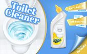 Vector Poster Of Toilet Cleaner Ads, Flushing Water With Detergent, Top View Of Bowl In 3d Illustrat poster