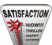 A thermometer topped with the word Satisfaction measures the happiness a person or customer has with