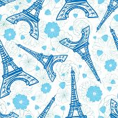 Vector Blue Eifel Tower Paris And Flowers Seamless Repeat Pattern Surrounded By St Valentines Day Ro poster