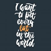 I Want To Pet Every Cat In The World - Hand Drawn Lettering Phrase For Animal Lovers On The Dark Blu poster
