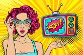 Wow Female Face. Sexy Surprised Young Woman In Glasses With Open Mouth And Bright Curly Hair And Wow poster