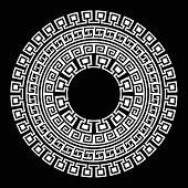 Ancient Greek Round Meander Key White And Black Vector Pattern. Illustration Of Greek Ancient Frame  poster
