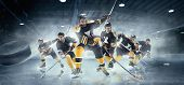 Decisive Throw Of The Puck And Goal. Collage About Ice Hockey Players In Action On Ice. Male Profess poster