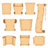 Ancient Paper Scrolls Set, Ancient Parchments Vector Illustrations Isolated On A White Background. poster