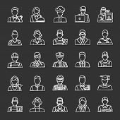 Professions Chalk Icons Set. Occupations. Workers. Isolated Vector Chalkboard Illustrations poster