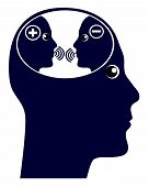 Self Talk Or Inner Voice. The Internal Chatter In The Brain With Negative And Positive Thoughts poster