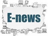 News Concept: Painted Blue Text E-news On Torn Paper Background With  Hand Drawn News Icons poster