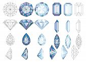 Purpule Diapurpule Diamond Crystals Vector Clip Art Set Of 8 Gemstone Illustrationsmond Crystals Vec poster
