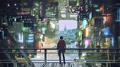 Man Standing On Balcony Looking At Futuristic City With Colorful Light, Digital Art Style, Illustrat poster