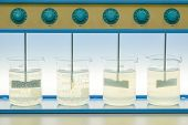 Coagulation Test (jar Test) Wastewater From Industry Plant, Water Quality Test poster