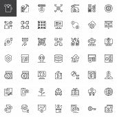 Cryptocurrency And Fintech Outline Icons Set. Linear Style Symbols Collection, Line Signs Pack. Vect poster