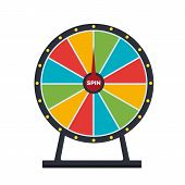 Spinning Wheel Isolated On White Background. Wheel Of Fortune. Vector Stock. poster