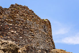 image of calatabiano  - wall of ancient norman castle in Calatabiano Sicily - JPG