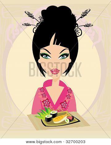 A beautiful woman enjoys sushi