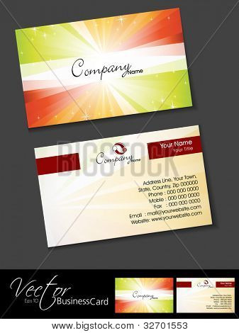 Professional business cards, template or visiting card set. Artistic colorful rays effect, abstract corporate look, EPS 10 Vector illustration.