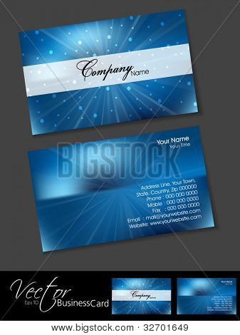 Professional business cards, template or visiting card set. Artistic rays effect, blue color, abstract corporate look, EPS 10 Vector illustration.