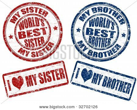 World's Best Sister And Brother Stamps