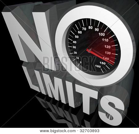 The words No Limits with a speedometer and racing needle representing unlimited speed and potential in reaching your goal