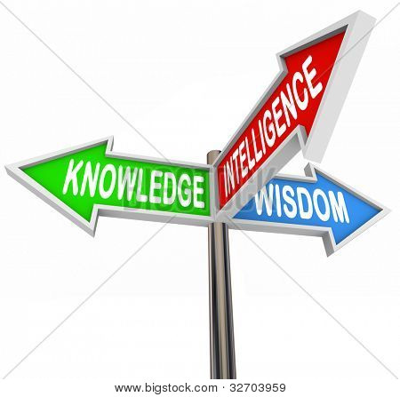 Three colorful arrow signs reading Knowledge, Intelligence and Wisdom offering direction and information to provide answers and advice in your search for facts and understanding