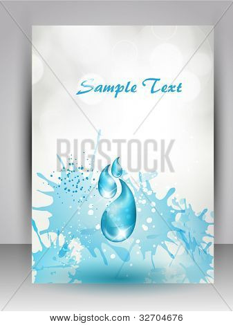 Abstract background water splash and  space for your text. can be use as flyer, banner or poster for save water concept and other purpose. EPS 10.
