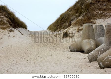 Path Through The Dunes And Tetrapod Barrier On Sylt