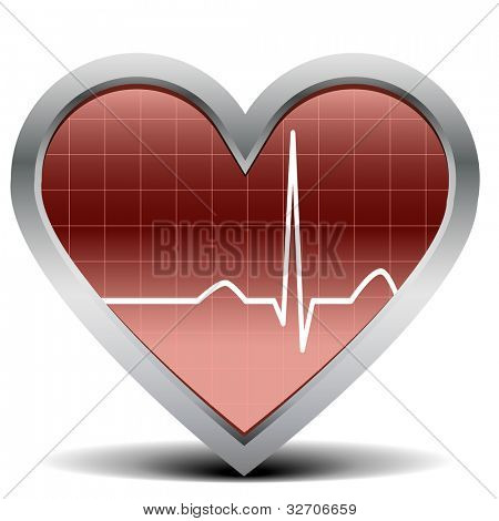 illustration of a shiny and glossy heart with a heart beat signal