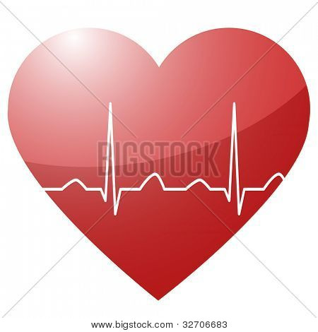 illustration of a heart with a heartbeat sinus curve in between as a symbol for life and vitality