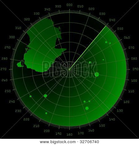 detailed illustration of a radar screen with targets and landmass