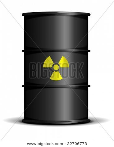 illustration of a black barrel with a radioactive warning label