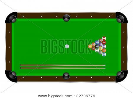 detailed illustration of a pool table with cues and balls