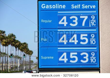 Sky High Gas Price With Palm Trees