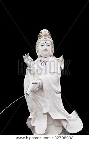 Quan Yin statue isolated.