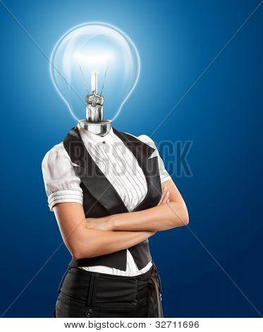 Idea concept, lamp head business woman have got an idea
