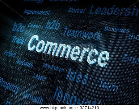 Pixeled Word Commerce On Digital Screen