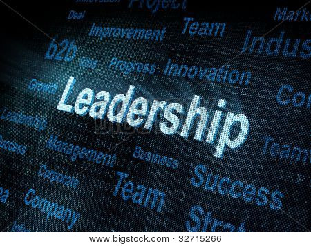 Pixeled Word Leadership On Digital Screen