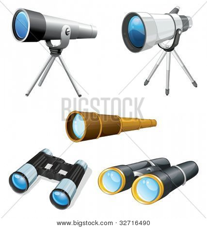 Illustraiton of telescopes and binoculars