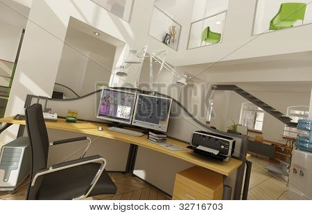 Rendering of a beautiful office interior